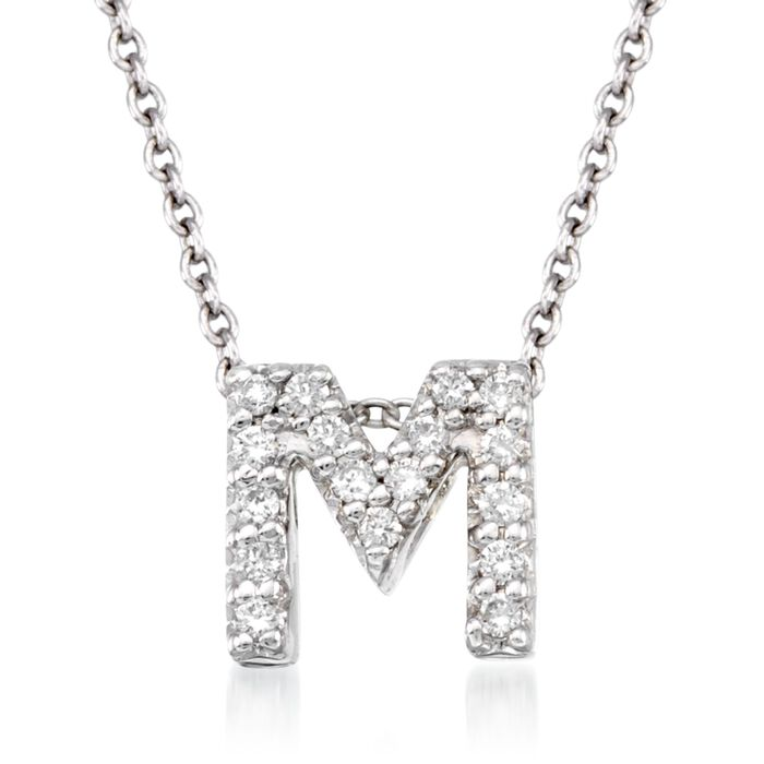 "Roberto Coin ""Tiny Treasures"" Diamond Accent Initial ""M"" Necklace in 18kt White Gold. 16"", , default"