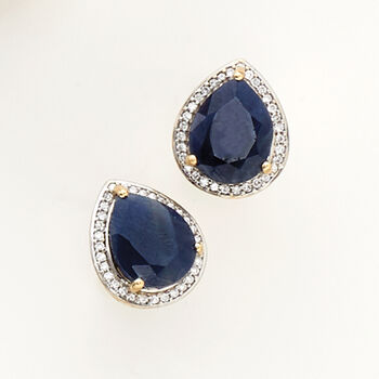 5.25 ct. t.w. Madagascar Sapphire and .15 ct. t.w. Diamond Earrings in 14kt Yellow Gold with White Rhodium. Pst