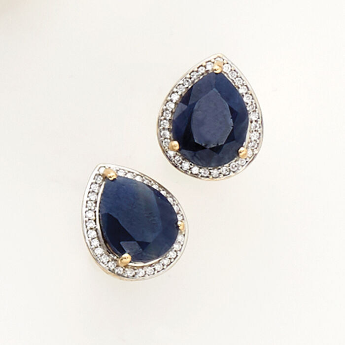 5.25 ct. t.w. Madagascar Sapphire and .15 ct. t.w. Diamond Earrings in 14kt Yellow Gold with White Rhodium
