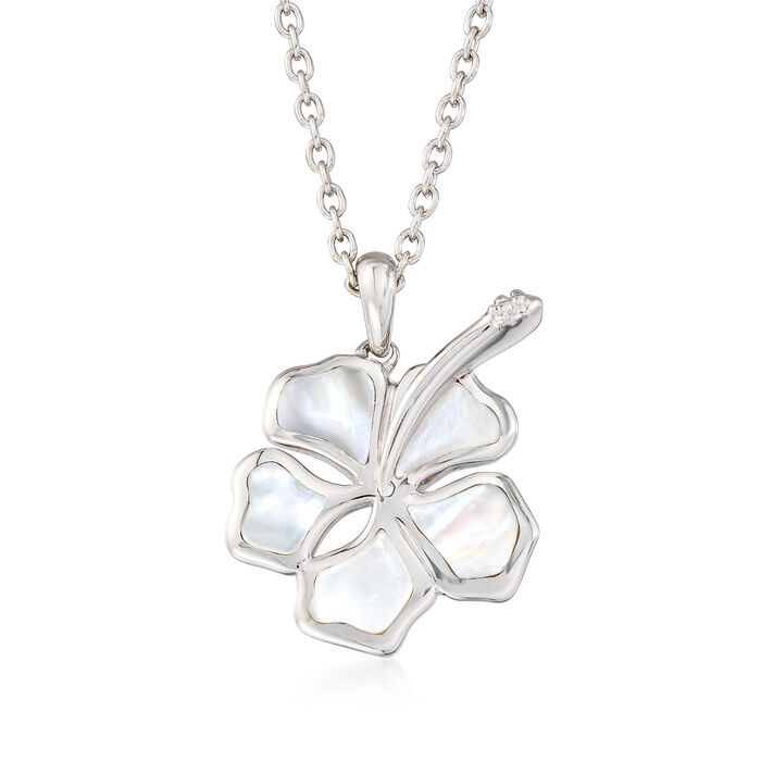 Mother-Of-Pearl Hibiscus Pendant Necklace in Sterling Silver