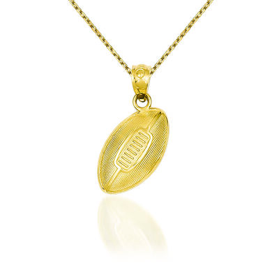 "14kt Yellow Gold Football Pendant Necklace. 18"", , default"