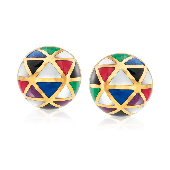C. 1990 Vintage Asch Grossbardt Multi-Gemstone Geometric Clip-On Earrings in 14kt Yellow Gold