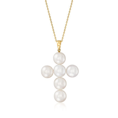 9.5-10mm Cultured Pearl Cross Pendant Necklace in 14kt Yellow Gold
