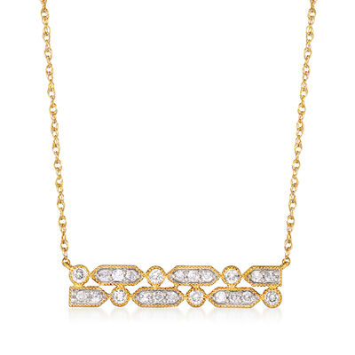 .50 ct. t.w. Diamond Bar Necklace in 18kt Gold Over Sterling