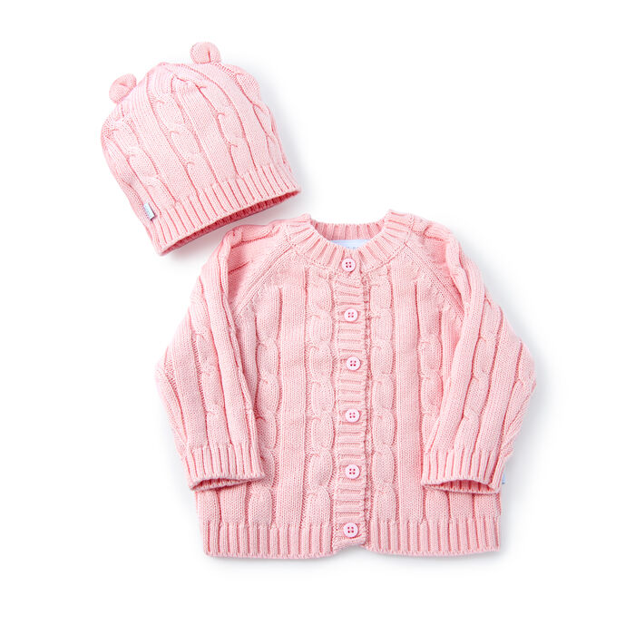 Pink Cable Knit Sweater and Hat Set, , default