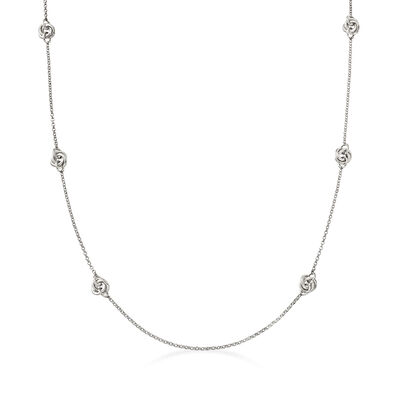 Italian Sterling Silver Knot Station Necklace