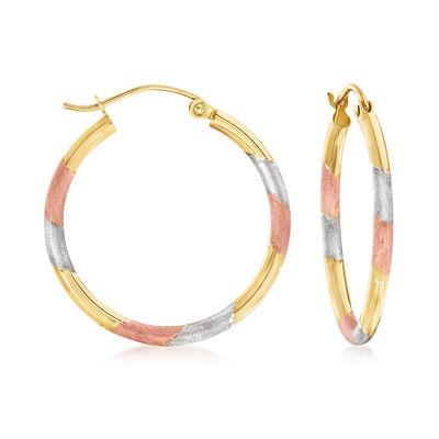 14kt Tri-Colored Gold Hoop Earrings
