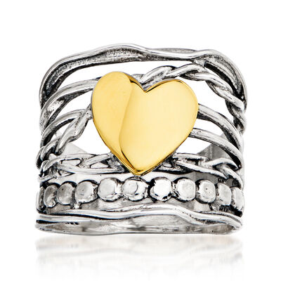 Sterling Silver and 14kt Yellow Gold Multi-Strand Heart Ring