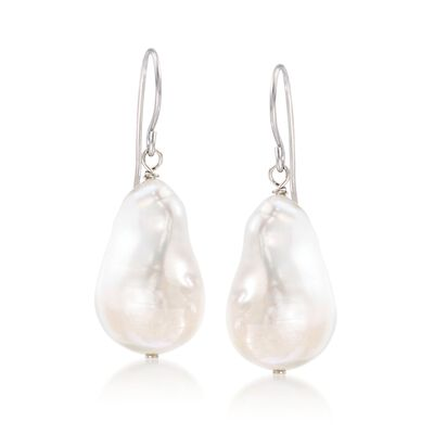 12-13mm Cultured Baroque Pearl Drop Earrings in Sterling Silver, , default