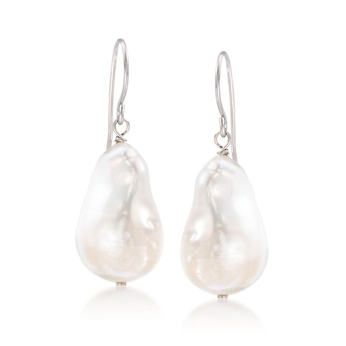 12-13mm Cultured Baroque Pearl Drop Earrings in Sterling Silver, , default