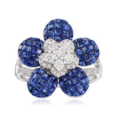2.00 ct. t.w. Sapphire and .50 ct. t.w. Diamond Floral Ring in 19kt White Gold, , default