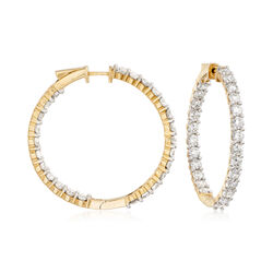 "10.00 ct. t.w. Diamond Inside-Outside Hoop Earrings in 14kt Yellow Gold. 1 1/2"", , default"