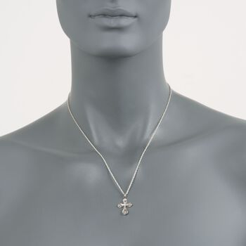 Diamond Cross Pendant Necklace in 14kt White Gold, , default