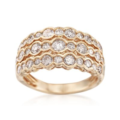 1.50 ct. t.w. Bezel-Set Diamond Three-Row Ring in 14kt Yellow Gold, , default