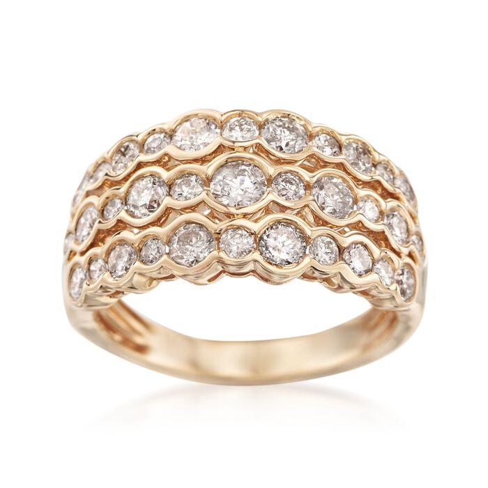 1.50 ct. t.w. Bezel-Set Diamond Three-Row Ring in 14kt Yellow Gold, , default