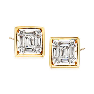 .35 ct. t.w. Round and Baguette Diamond Square Earrings in 18kt Yellow Gold