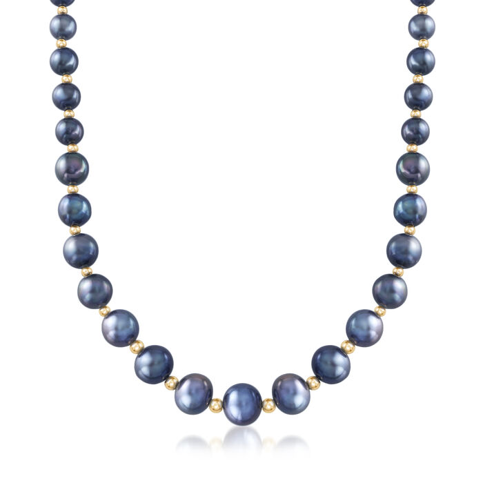 """6-12mm Black Cultured Pearl Necklace with 14kt Yellow Gold. 18"""""""