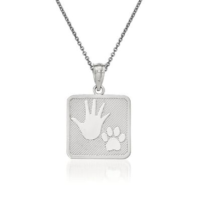 14kt White Gold Pup and Me Square Pendant Necklace, , default