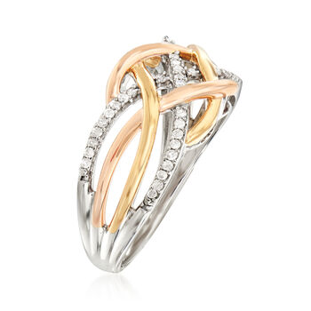 .20 ct. t.w. Diamond Crisscross Ring in Sterling Silver and 18kt Gold Over Sterling, , default