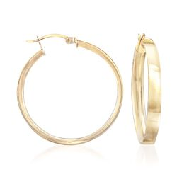 "14kt Gold Over Sterling Squared Hoop Earrings. 1 3/8"", , default"