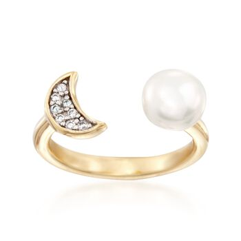 7.5-8mm Cultured Pearl Ring With CZ Accents in 18kt Yellow Gold Over Sterling Silver, , default