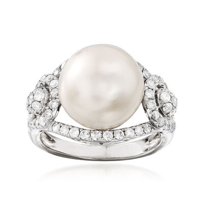 12-13mm Cultured Pearl and .95 ct. t.w. Diamond Ring in 18kt White Gold, , default