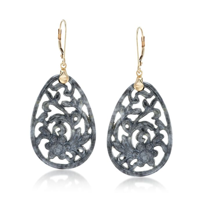 Carved Gray Jade Floral Drop Earrings with 14kt Yellow Gold