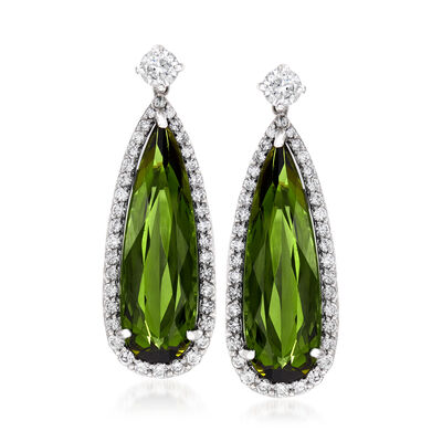 17.00 ct. t.w. Green Tourmaline and 2.15 ct. t.w. Diamond Drop Earrings in 14kt White Gold, , default