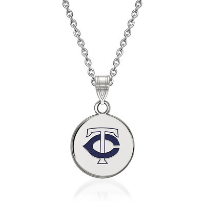 Sterling Silver MLB Minnesota Twins Enamel Disc Pendant Necklace. 18""