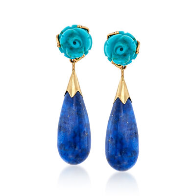 Lapis and Turquoise Floral Teardrop Earrings in 14kt Yellow Gold
