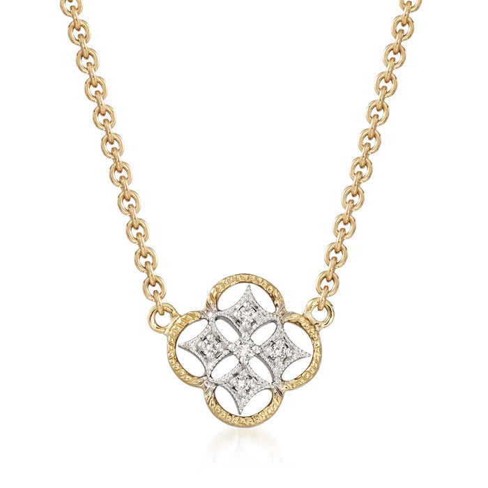 18kt Two-Tone Gold Openwork Clover Necklace with Diamond Accents