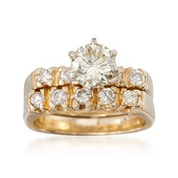 C. 1980 Vintage 1.35 ct. t.w. Diamond Bridal Set: Engagement and Wedding Rings in 14kt Yellow Gold, , default