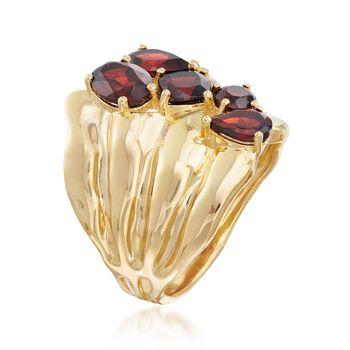 2.80 ct. t.w. Garnet Stacked Cluster Ring in 18kt Gold Over Sterling. Size 5, , default