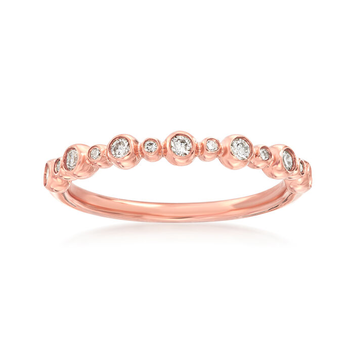 Henri Daussi .18 ct. t.w. Diamond Wedding Ring in 14kt Rose Gold, , default