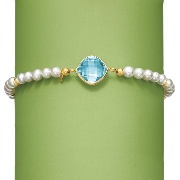 4.60 Carat Blue Topaz and 4-5mm Cultured Pearl Bracelet in 14kt Yellow Gold