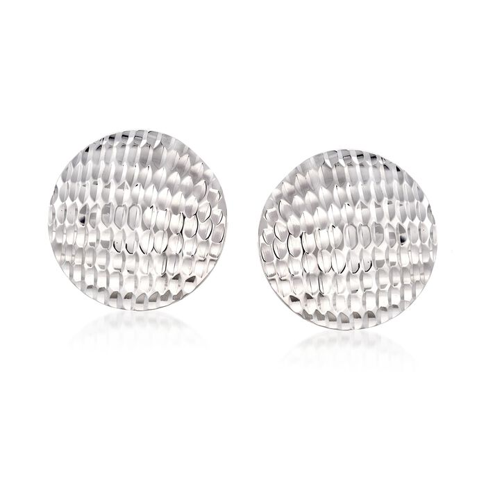 Sterling Silver Textured Circle Disc Earrings, , default