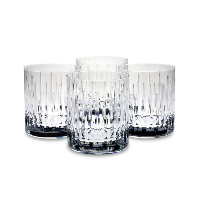 "Reed & Barton ""Soho"" Set of Four Double Old Fashioned Crystal Glass Tumblers, , default"
