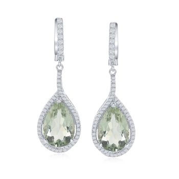11.00 ct. t.w. Green Amethyst and .80 ct. t.w. White Topaz Drop Earrings in Sterling Silver, , default