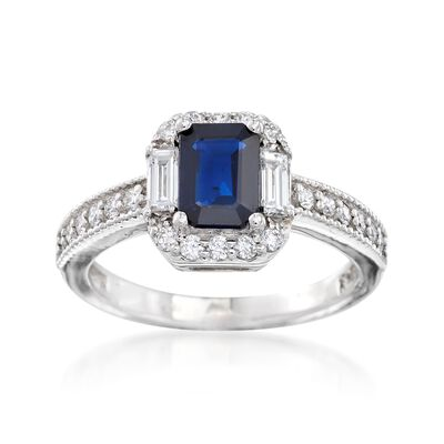 1.10 Carat Sapphire and .46 ct. t.w. Diamond Ring in 14kt White Gold, , default