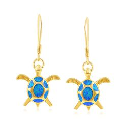 Blue Synthetic Opal Sea Turtle Drop Earrings in 18kt Gold Over Sterling, , default