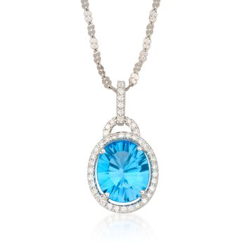 "5.00 Carat Topaz Necklace With Diamonds in 14kt White Gold. 18"", , default"