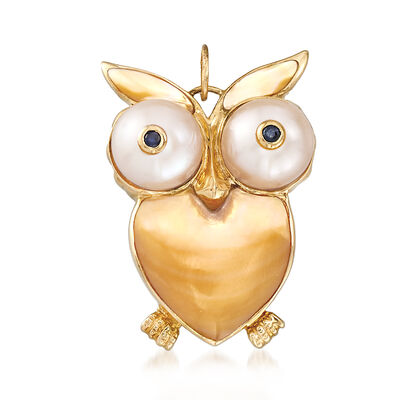 Mother-Of-Pearl and Cultured Pearl Owl Pendant with Sapphire Accents in 14kt Yellow Gold, , default