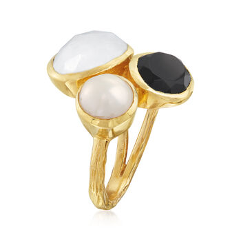 8mm Cultured Pearl, Black Onyx and Moonstone Ring in 18kt Gold Over Sterling