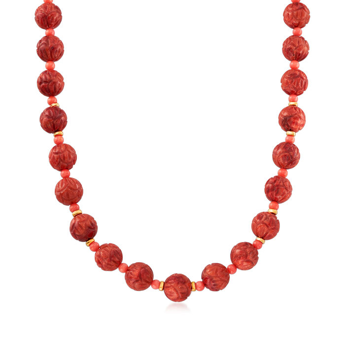 3-13mm Red and Pink Coral Bead Necklace in 14kt Yellow Gold