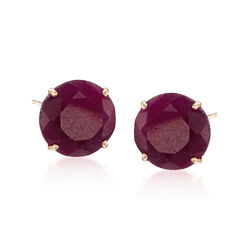 6.50 ct. t.w. Ruby Stud Earrings in 14kt Yellow Gold, , default