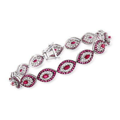 C. 1980 Vintage 5.30 ct. t.w. Ruby and 1.40 ct. t.w. Diamond Evil Eye Bracelet in 18kt White Gold
