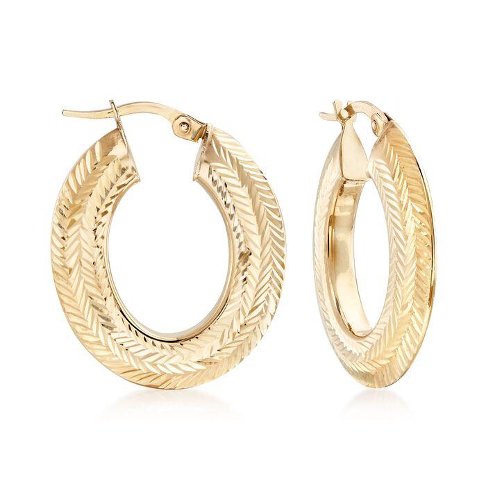 Italian Chevron-Patterned Hoop Earrings in 14kt Yellow Gold