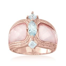 Rose Quartz and 1.10 ct. t.w. Blue Topaz Ring in 18kt Rose Gold Over Sterling, , default