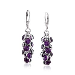 19.00 ct. t.w. Bezel-Set Amethyst Cluster Drop Earrings in Sterling Silver , , default