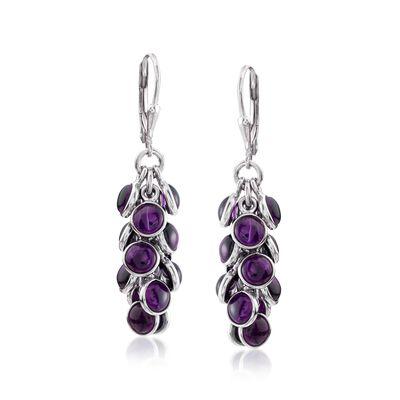 19.00 ct. t.w. Bezel-Set Amethyst Cluster Drop Earrings in Sterling Silver, , default